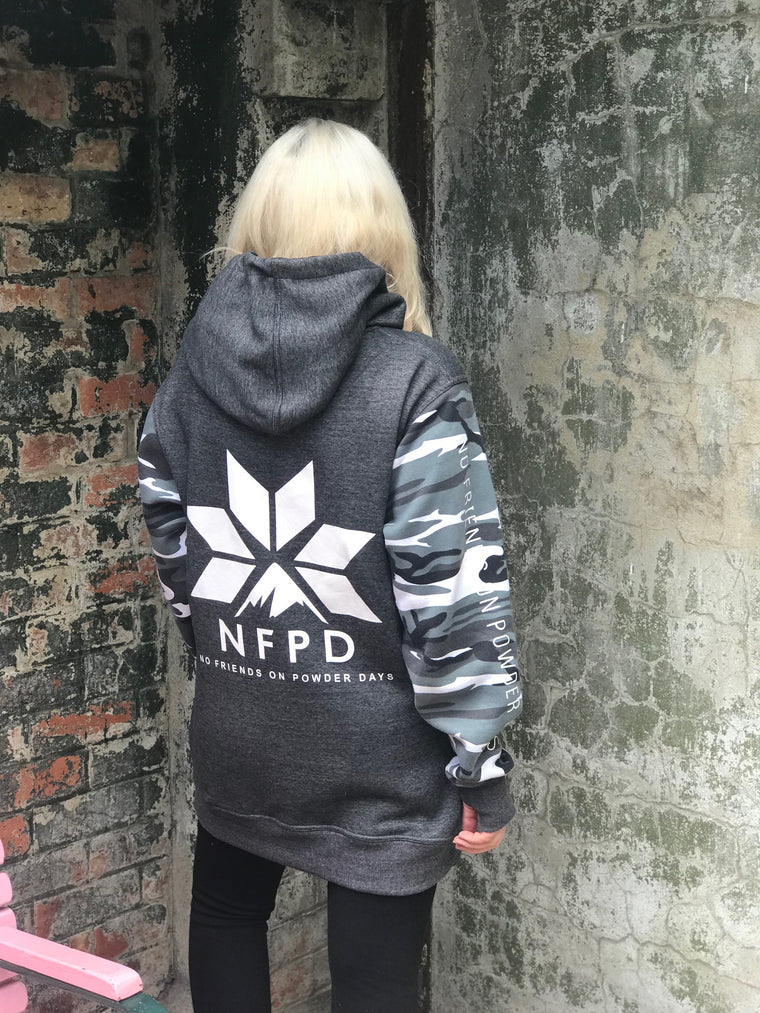 Grey/With Snow Camo Sleeves Tall Hoodie - Unisex - PRE-ORDER