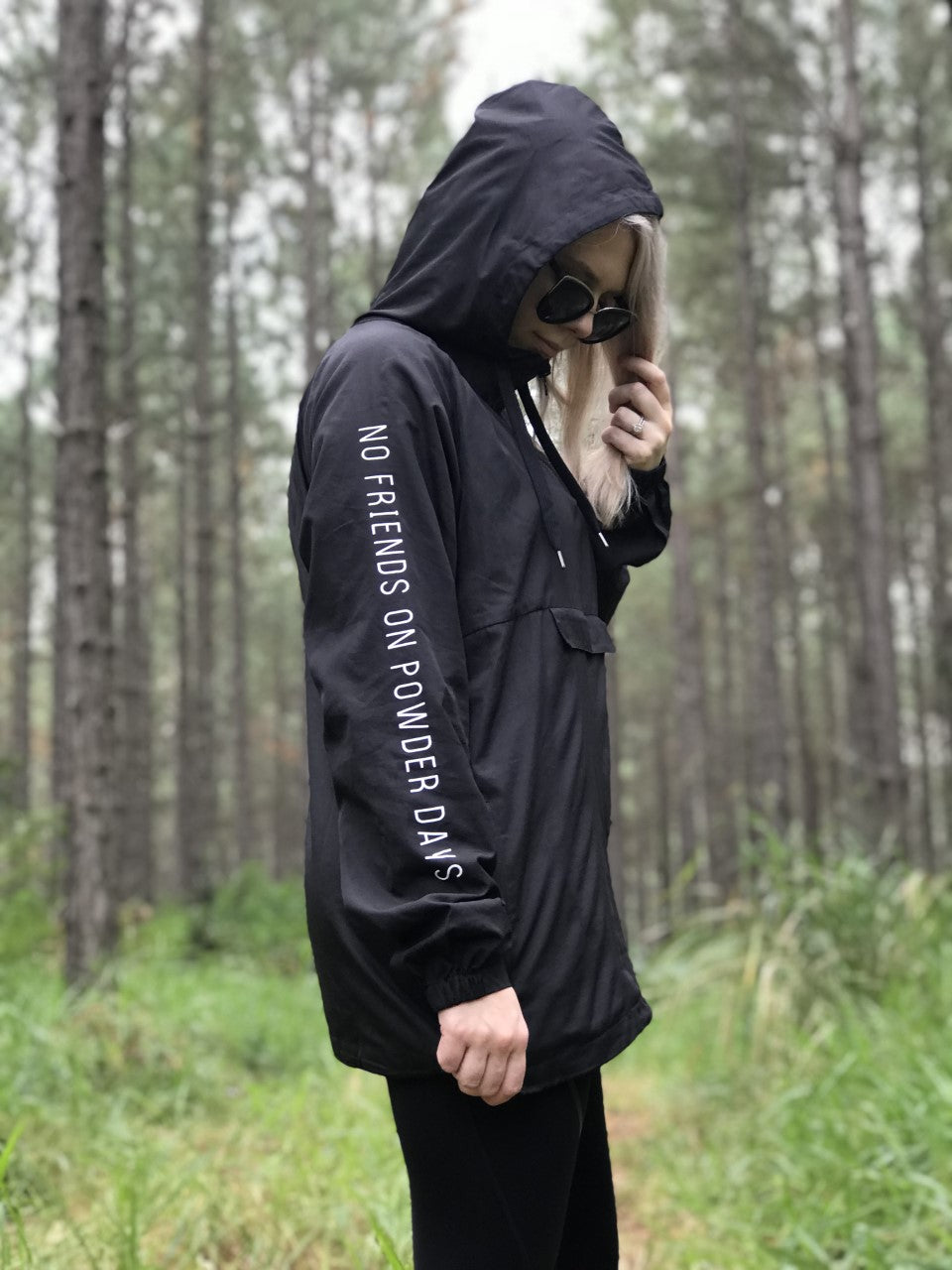 Black Water Resistant Windbreaker Jacket - Unisex