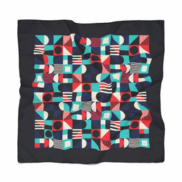 Geometric Pattern Scarf / Blue
