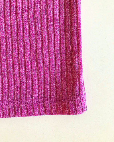Vale Pink Ribbed Basic Short-Sleeve Tee