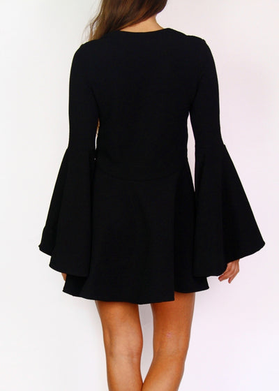 Shona Joy Black Rib Long-Bell-Sleeve Mini Dress