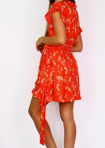 MLM 100% Cotton Floral + Frilly Wrap Dress