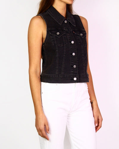 Maurie & Eve Black Perforated Zip-Front Jacket