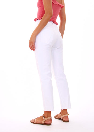 Vale High-Rise White 100% Cotton Straight Leg Jeans