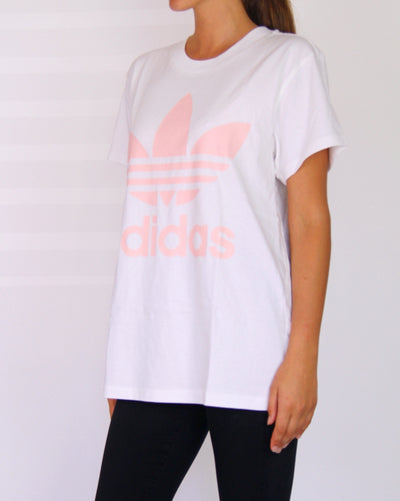 NEW Adidas 100% Cotton Oversized Pink Tree-Foil Tee