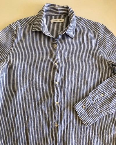 Assembly Label 100% Linen Stripe Button-Down