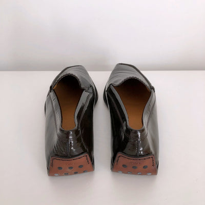 Tod's Dark Brown Patent Slip-On Leather Loafers