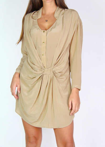 Shakuhachi 100% Silk Button-Front Mini Dress