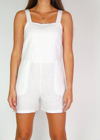 NEW Assembly Label 100% Linen Wide-Strap Playsuit