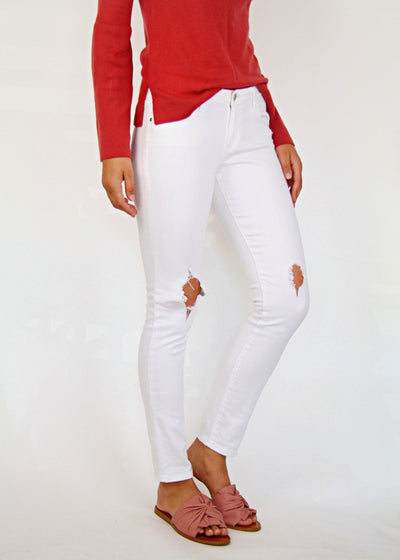 Zara White Cropped Summer Jeans