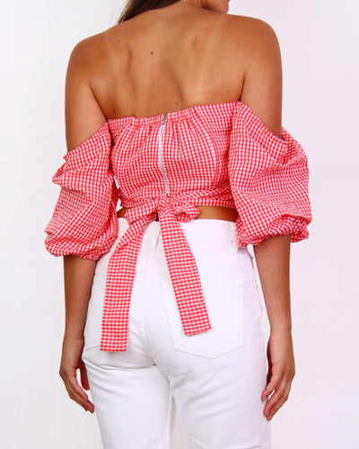 NEW MLM Checked 'Anna' Shoulder Wrap Top