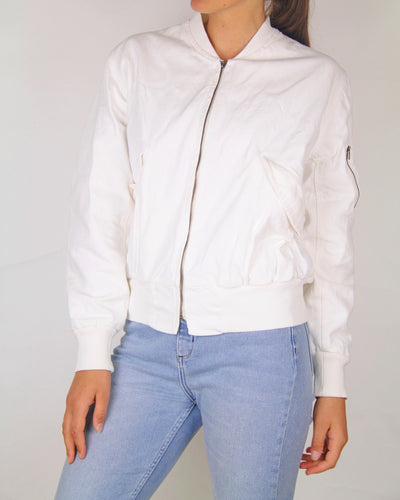 Bassike 100% Cotton Un-dyed Bomber Jacket