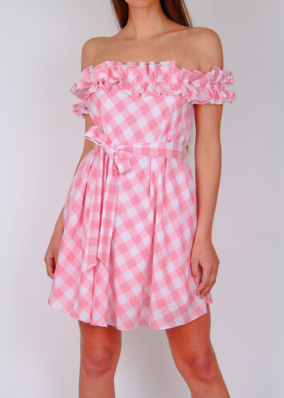 NEW Steele Brigitte Pink Check Mini Dress