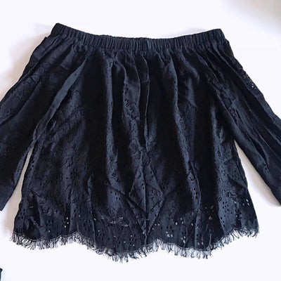 Hansen & Gretel Black Lace Top + Short Set