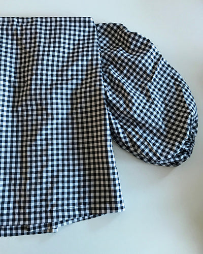 MLM Label Checked Off-Shoulder Summer Blouse