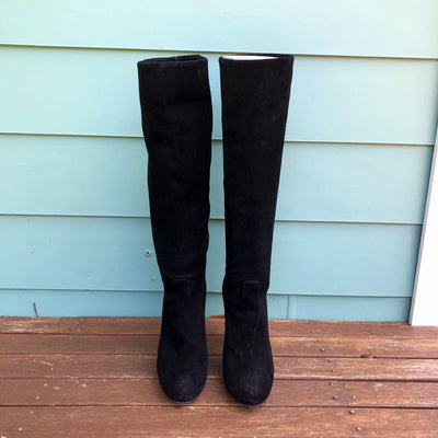 Bally Edwina Black Suede Knee High-Heel Boots