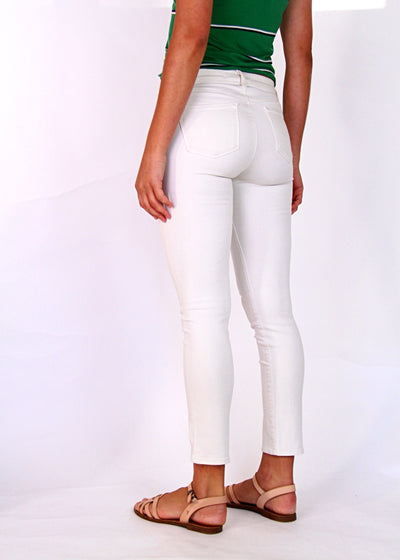 J Brand Cropped Rail Skinny Jean in Cream