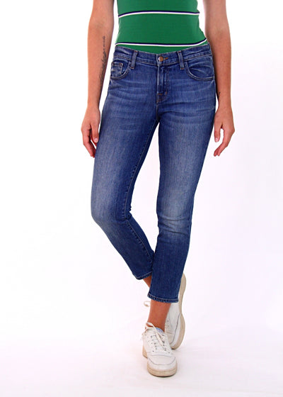 J Brand Sadie Mid-Rise Cropped Skinny Jean in Old Rose