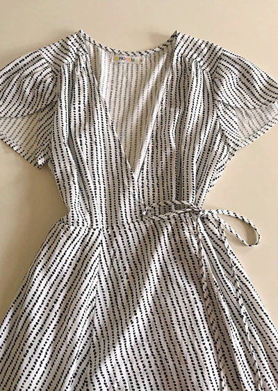 Whoami Cap Sleeve Summer Wrap Dress