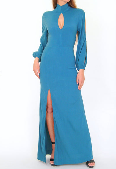 S/W/F Boutique Raline Turquoise Cocktail Maxi Dress
