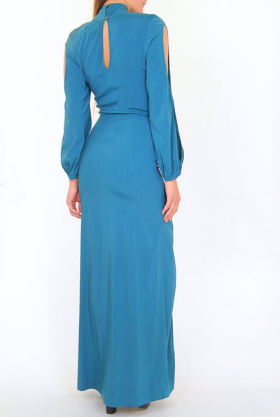 NEW S/W/F Boutique Raline Turquoise Cocktail Maxi Dress