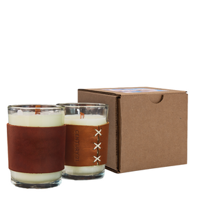 HARPER Leather Wrapped Candle with Gift Box