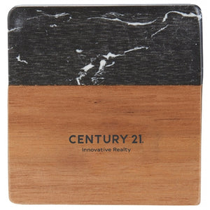 DBA Black Marble and Wood Coaster Set (4 Coasters) - Century 21 Promo Shop USA