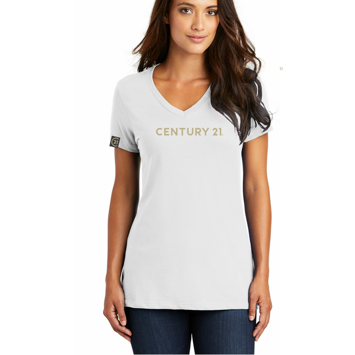 District Ladies V Neck Tee - White