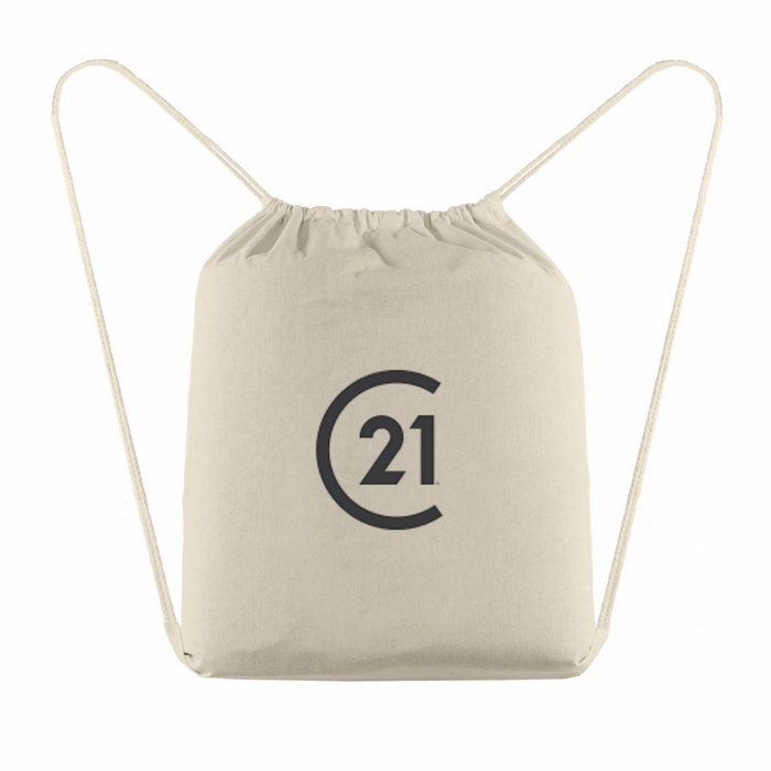 Java Cotton Drawstring Bag with Your DBA Logo