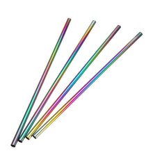 Rainbow Stainless Steel Straws - 4 pack (straight)
