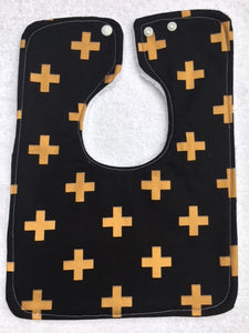 Everyday Bib - Black Crosses