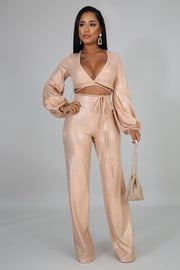 Be On The Look Out Gold Metallic Two Piece - Fortress Fashions & Furnishings