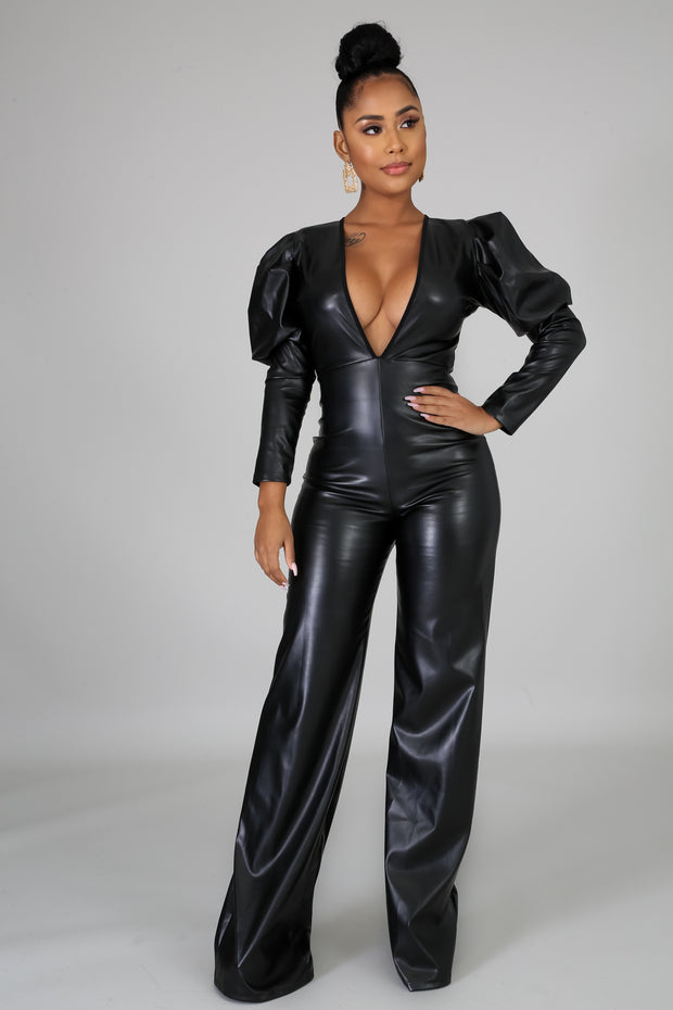Real Boss Chic Leatherette Jumpsuit - Fortress Fashions & Furnishings