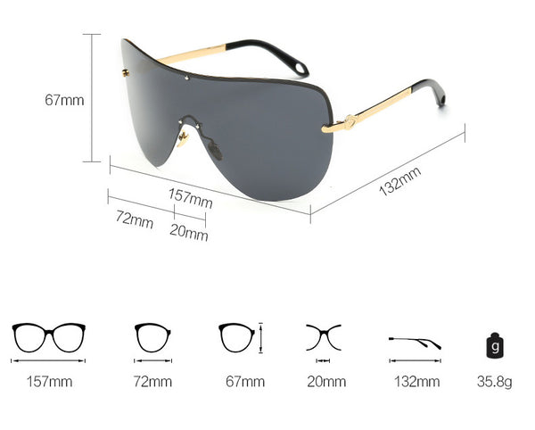 Large Shield Polarized Sunglasses