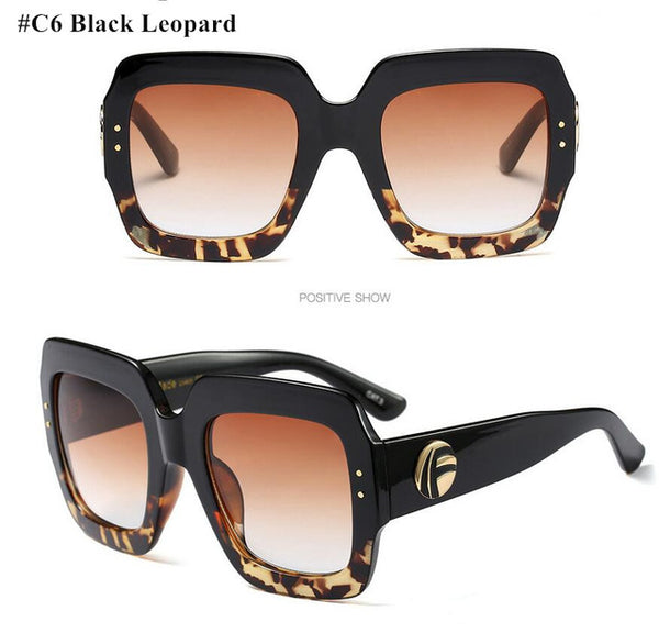 Oversized Square Women Retro Designer Shades