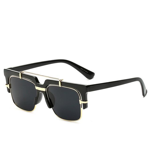 Black on Black Semi-Rimless Square Sunglasses