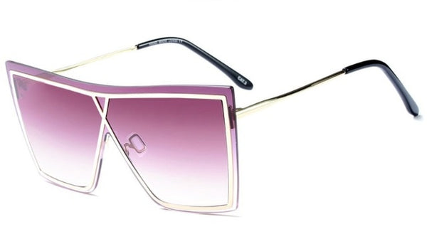 Square Flat Top Metal Frame Sunglasses
