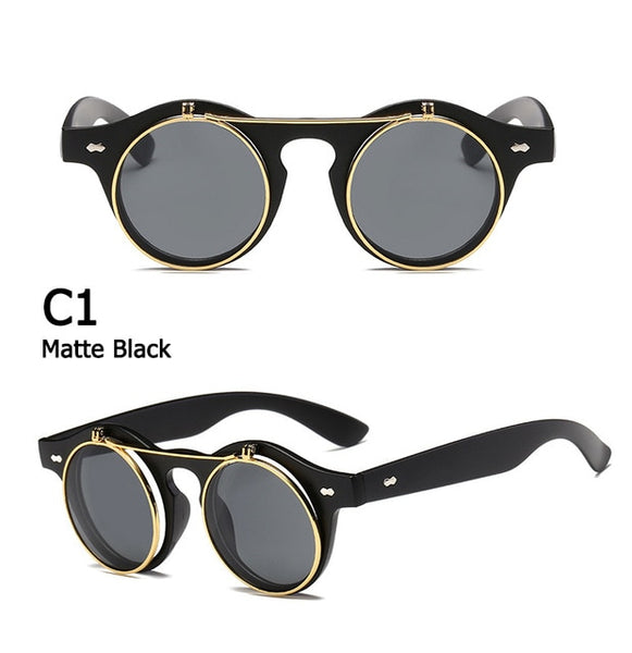 Flip Up Round Retro Round Sunglasses