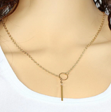 Refined Choker Necklace with Gold Silver Lariat Pendant