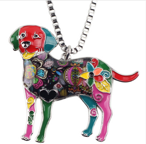 Fashion Long Necklace with Multi-color Labrador Dog Pendant