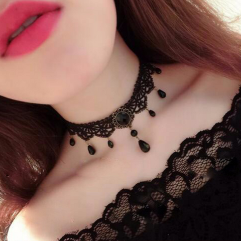 Cool Black Velvet Choker Necklace