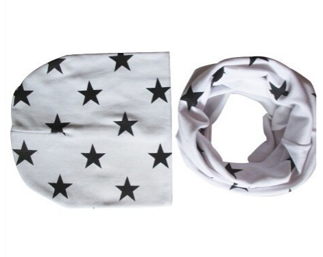 Baby Hat and Scarf with Star Print Design