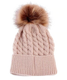 Winter Knitted Baby Cap with Cute Fur Pompom