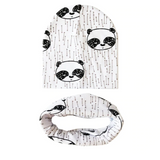 A Set of Baby Hat And Scarf with Animal Print Designs