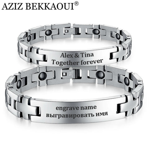 Personalized Magnetic Couple Bracelets with Cross Design
