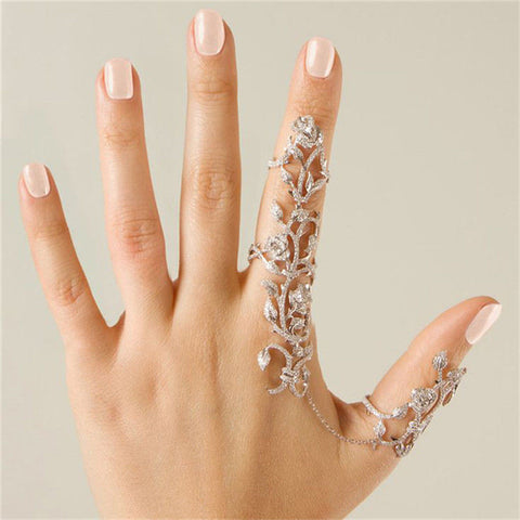 Modish Rhinestone Floral Chained Knuckle Ring