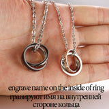 Stylish Couple Necklaces with Double Rings Pendant