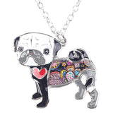 Long Chain Necklace with Multi-color Pug Dog Pendant