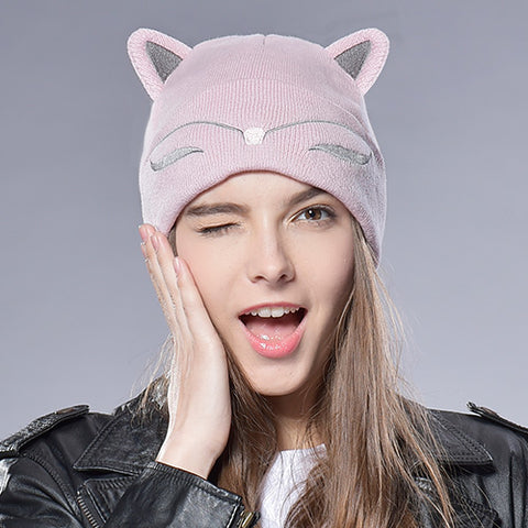 Funny Embroidered Adult Kids Cat Ear Hat