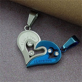 Personalized Couple Necklace with Colored Heart Pendant